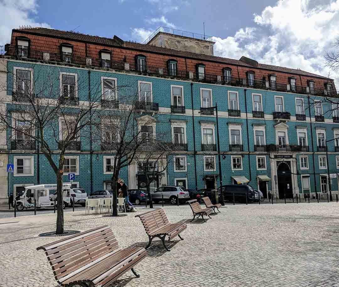 Beautiful tiled building in Graça, Lisbon