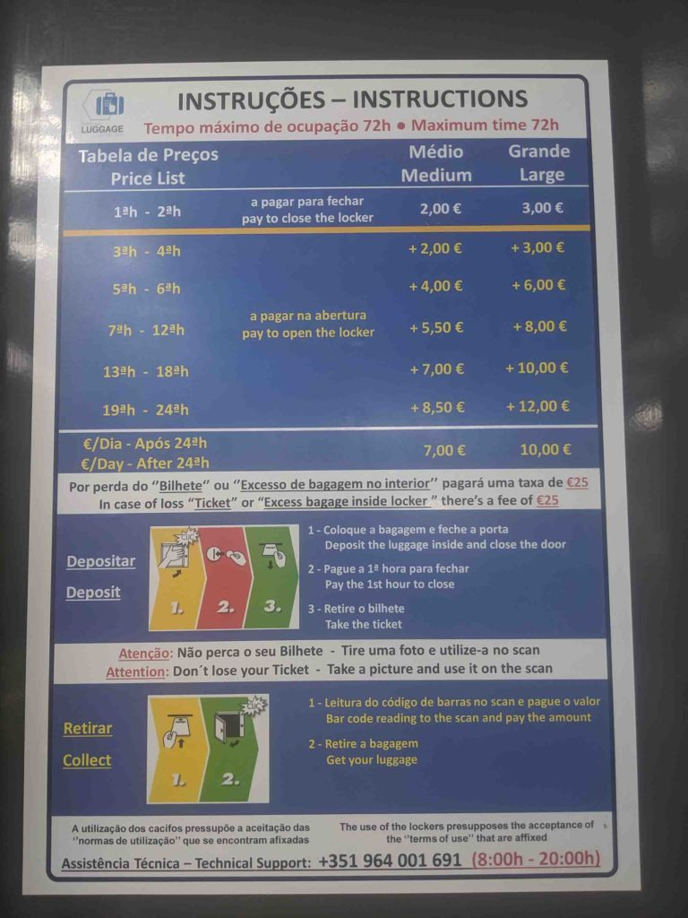 Braga train lockers prices
