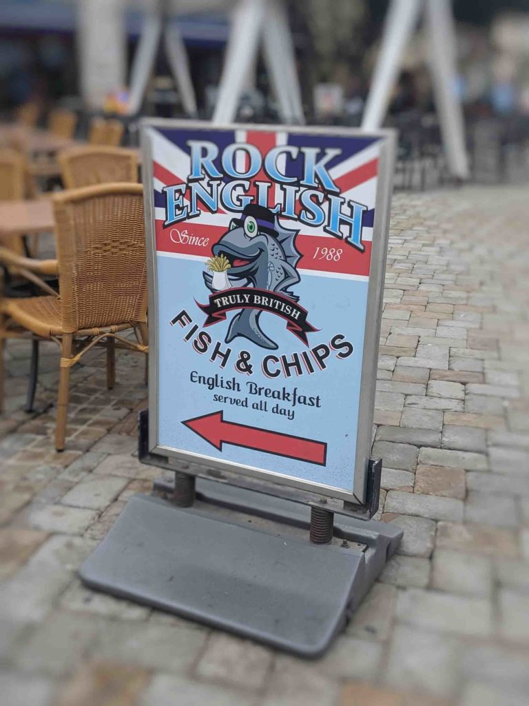 Fish and chips sign gibraltar