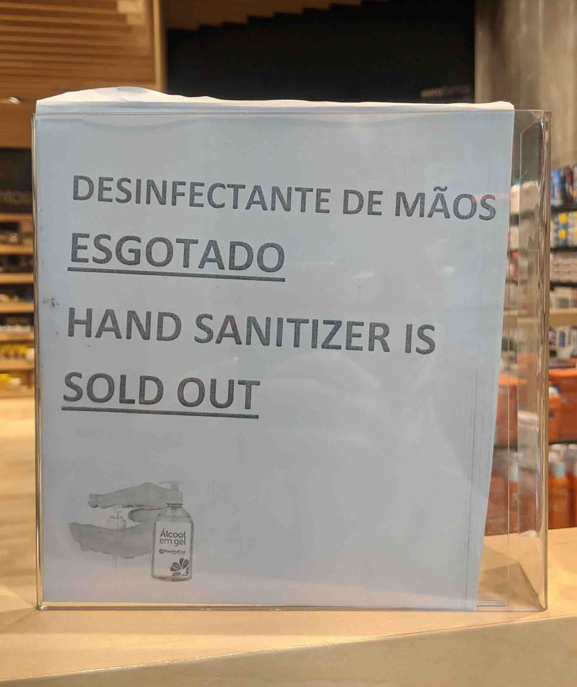 sign saying hand sanitiser is sold out