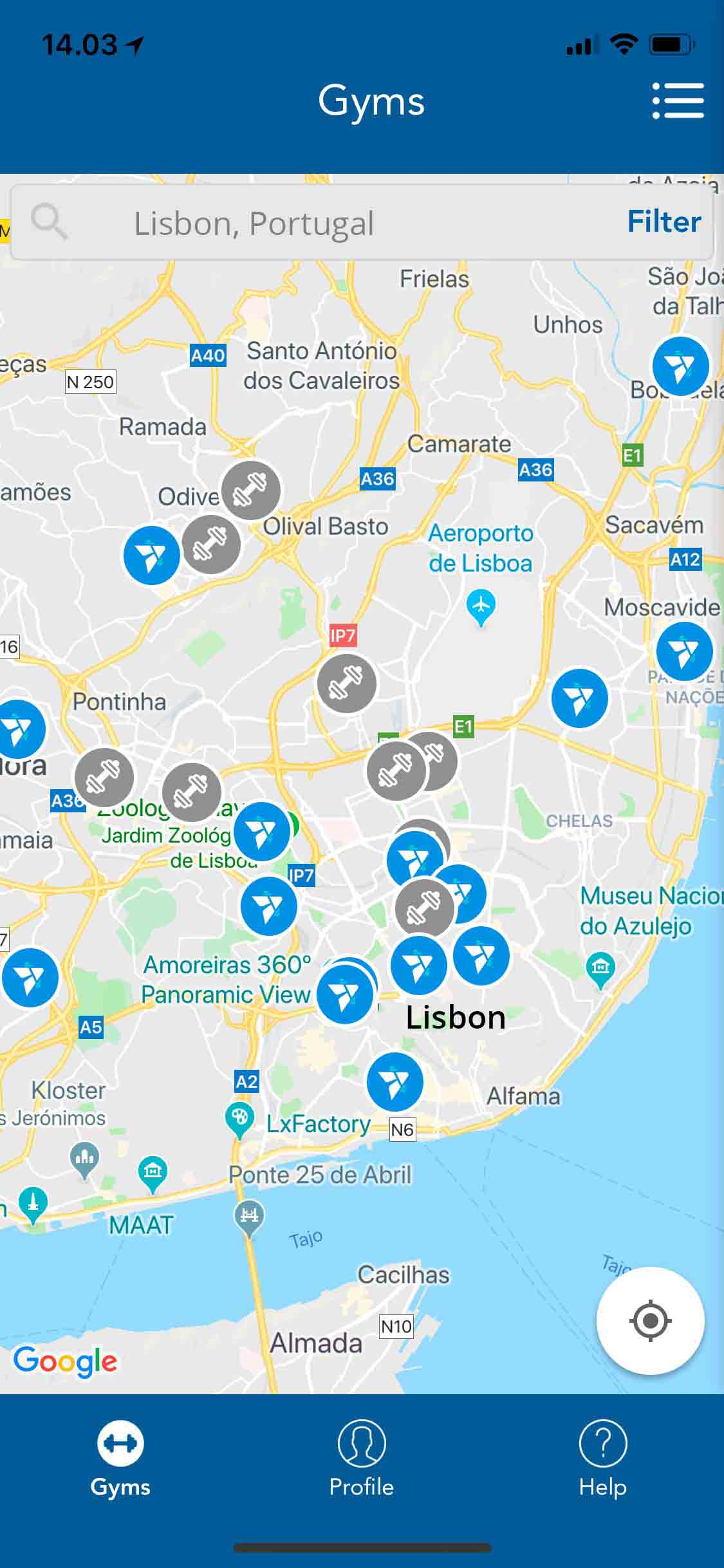 Lisbon gyms with Trainaway