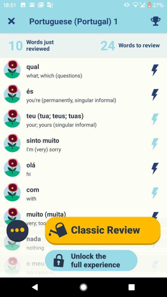 screenshot of Memrise for European Portuguese