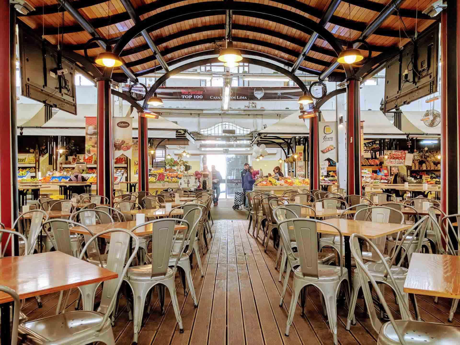 Sitting in the café area of Mercado Campo Ourique