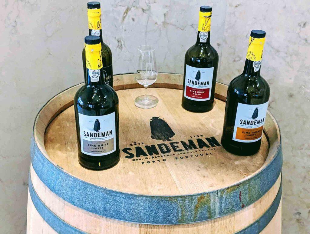 Port bottles on port barrel