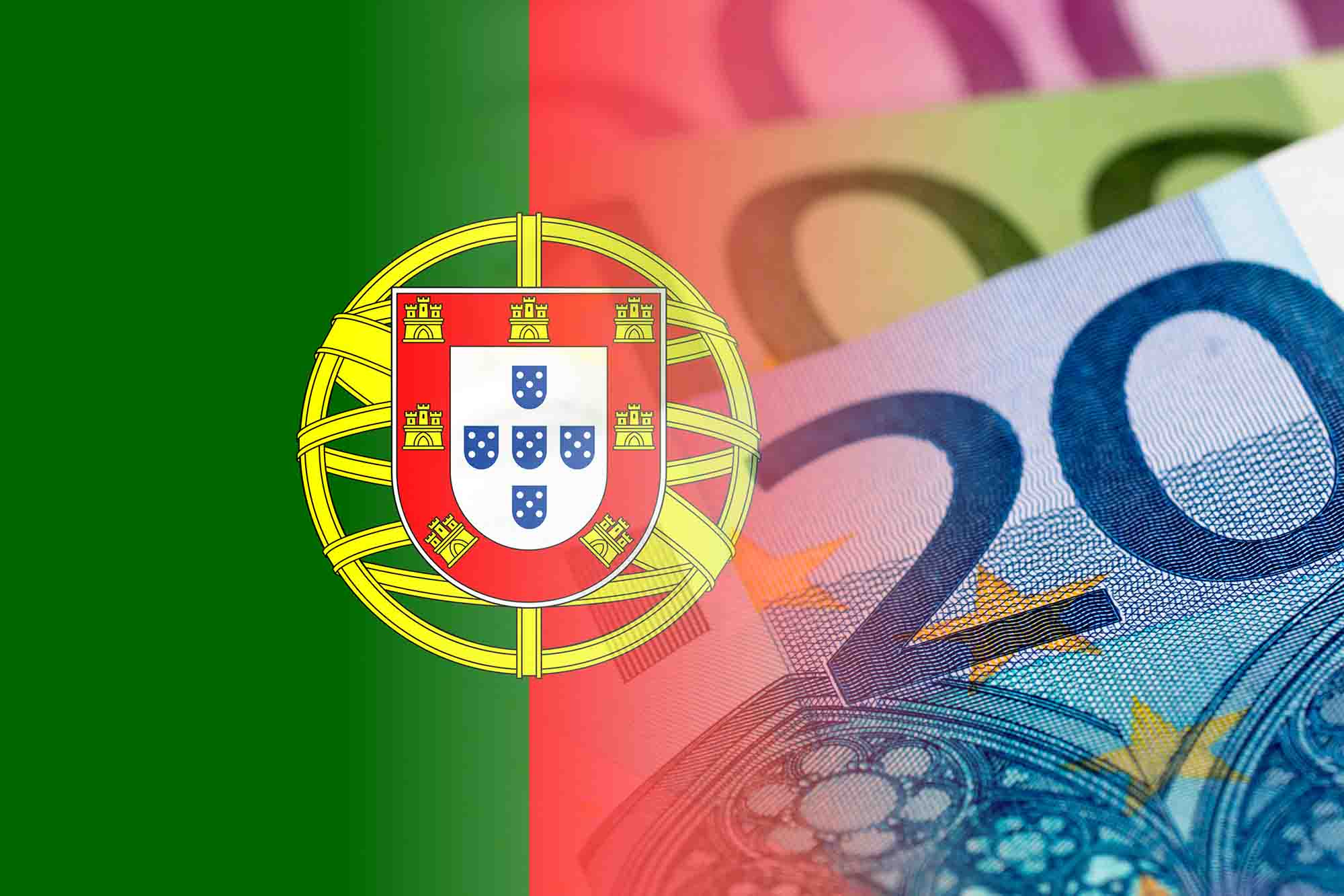 portugal flag with euro banknotes