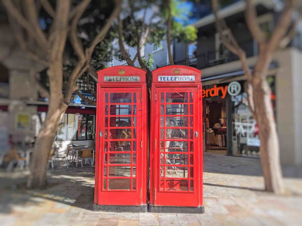Red phoneboxes in Gibraltar
