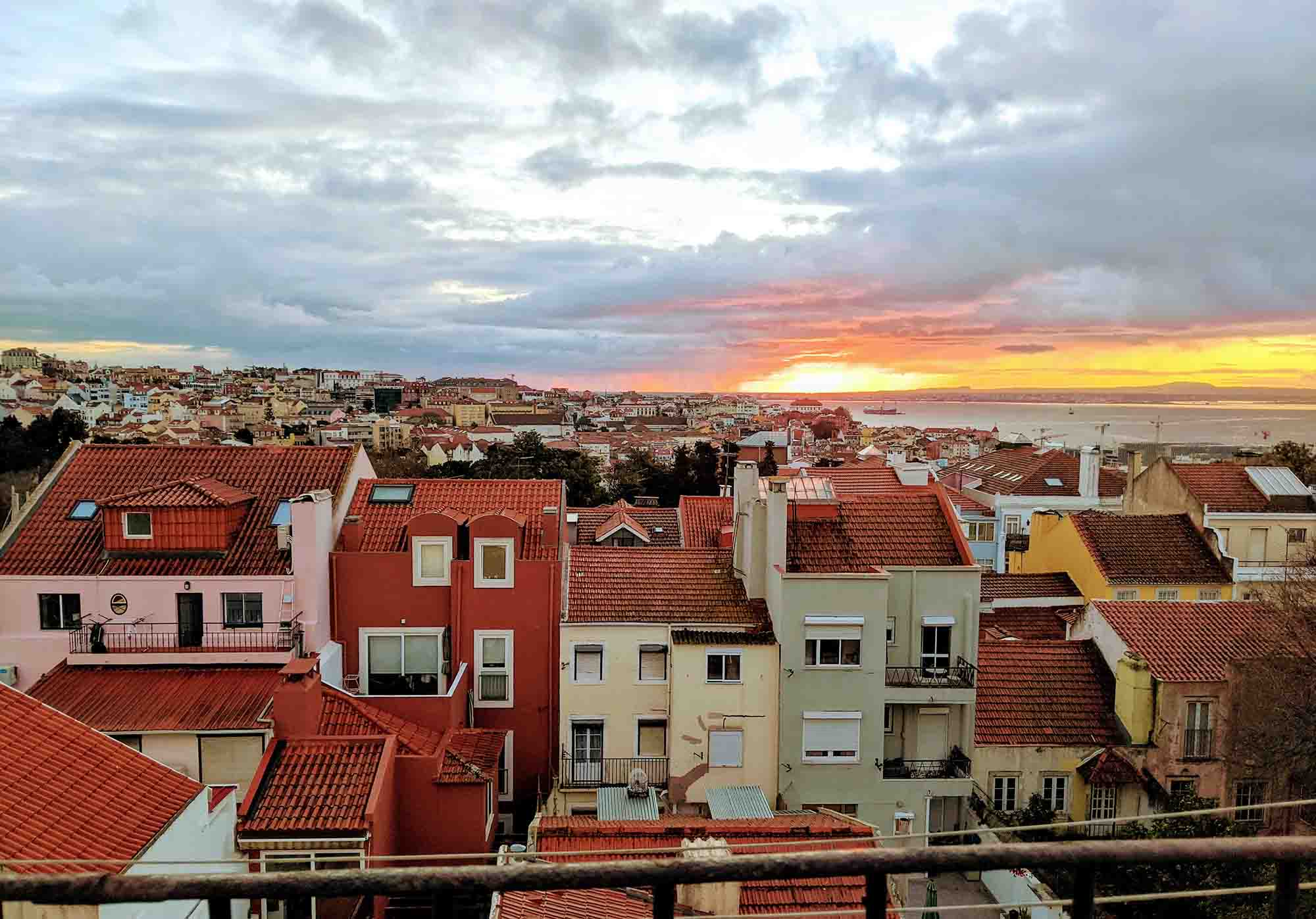 Sunrise over Lisbon, taken from balcony