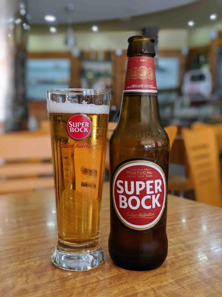 Super Bock bottle and glass