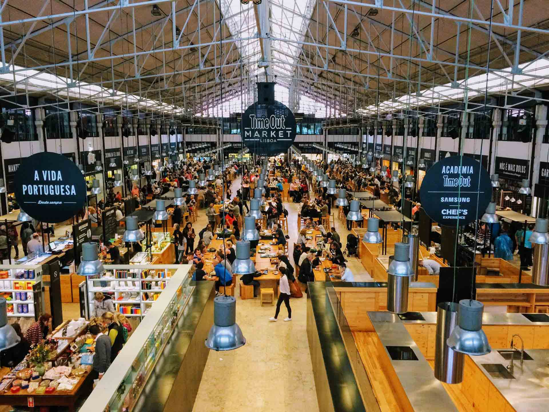 View of the Time Out Market in Lisbon from above