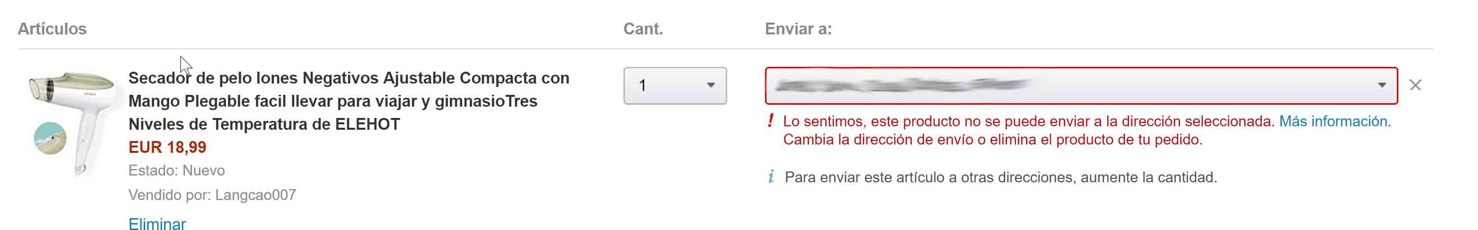 Amazon Spain won't ship hairdryer
