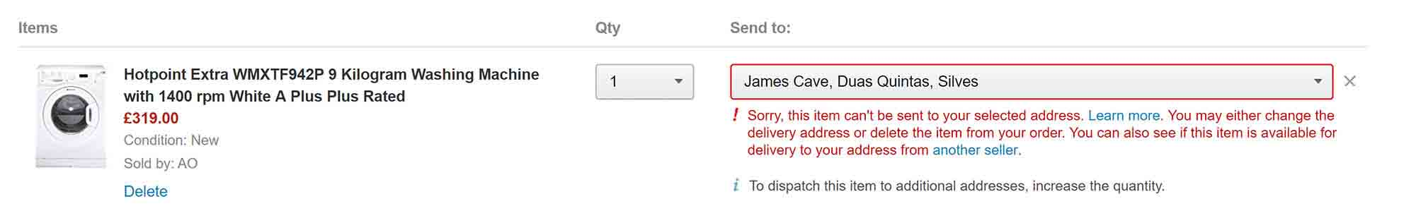 amazon uk can't ship