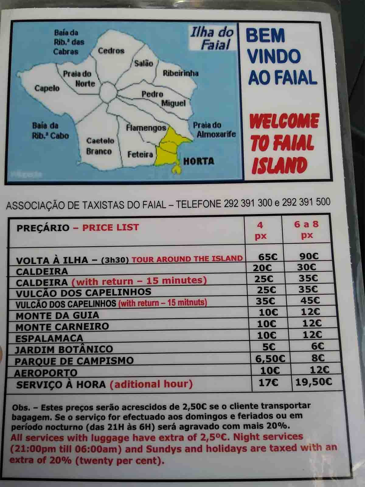 faial taxi price list