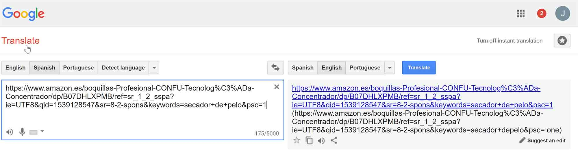 google translate url