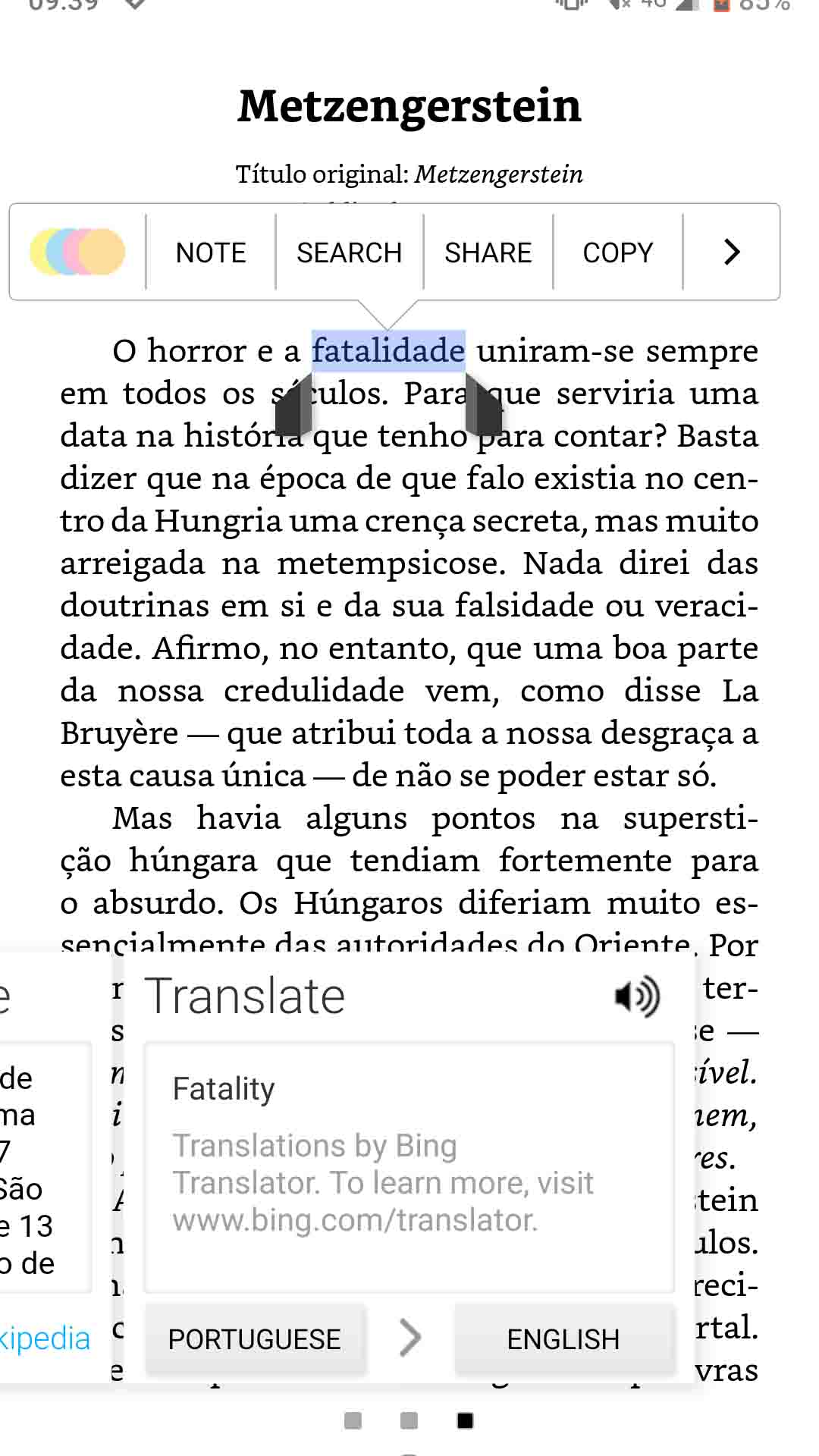 kindle app translating a word screenshot