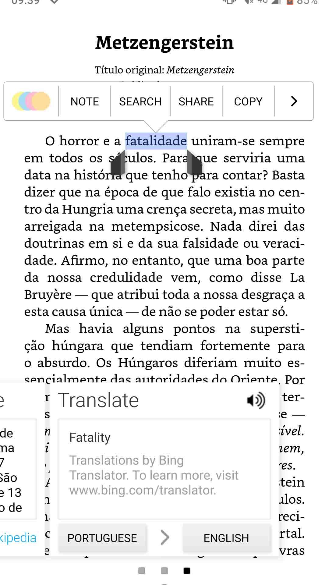 kindle app translating a word screenshot