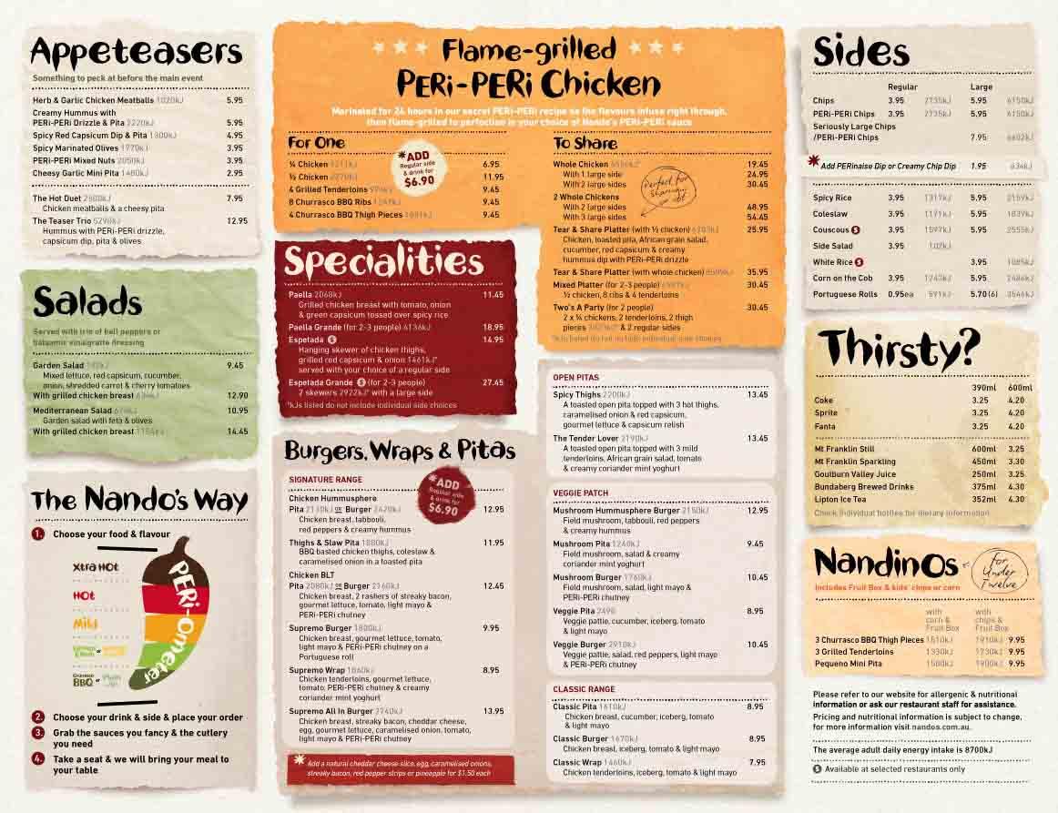 nandos-menu-in-Australia