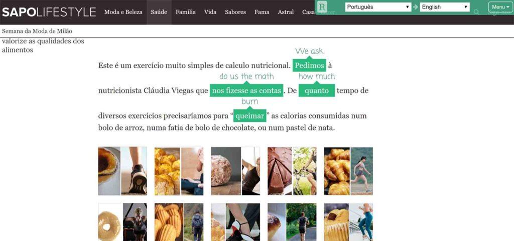 sapo translating portuguese