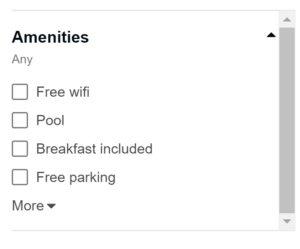 Tripadvisor amenities checkbox
